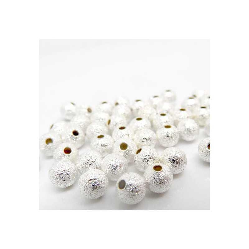50 Perles en Métal Stardust 4mm Argenté
