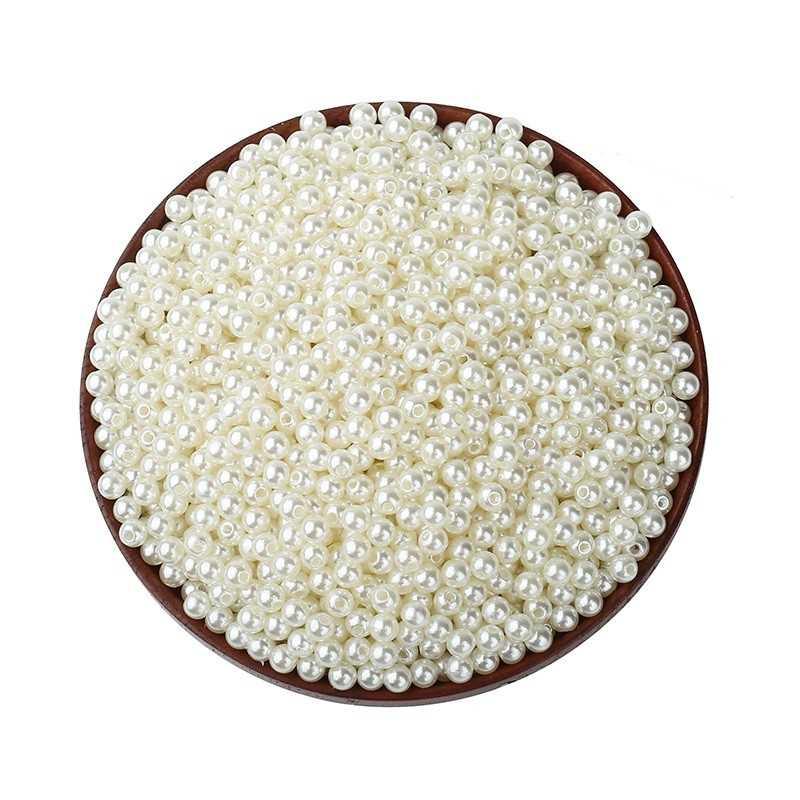 50 Perles Imitation Brillant 5mm Blanc Cassé