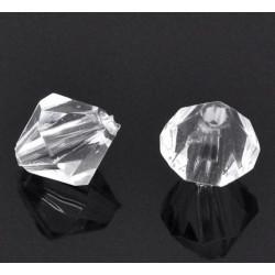 100 ou 200 Perles Transparent Intercalaires Bicone toupie en Acrylique 4 x 4mm