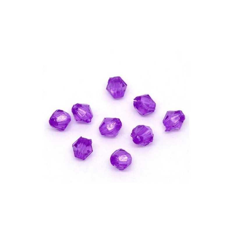 100 ou 200 Perles Violet Bicone toupie en Acrylique 4 x 4mm