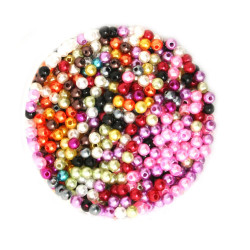 50 Perles Imitation Brillant 4mm Mixte