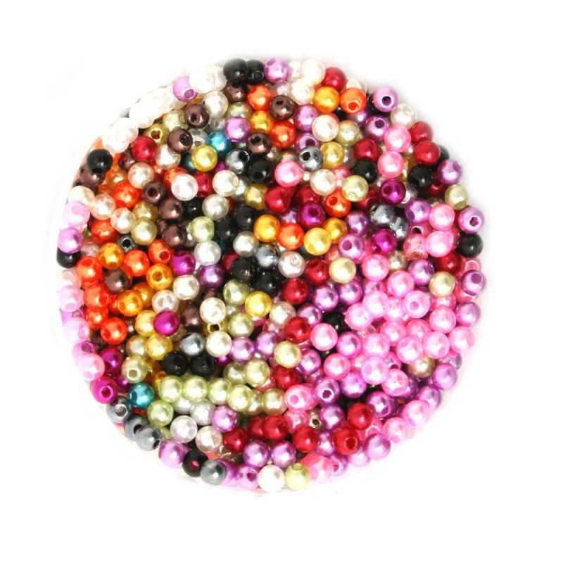50 Perles Imitation Brillant 4mm Mixte
