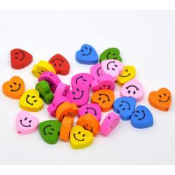 Lot Perles en Bois Coeur Smile 16mm x 18mm