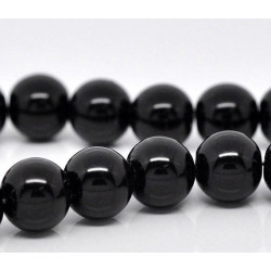 30 Perles imitation en Verre 6mm Noir Brillant MC0106029