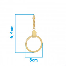 Anneau Porte Clé Doré 3cm avec chaînette 6,4cm