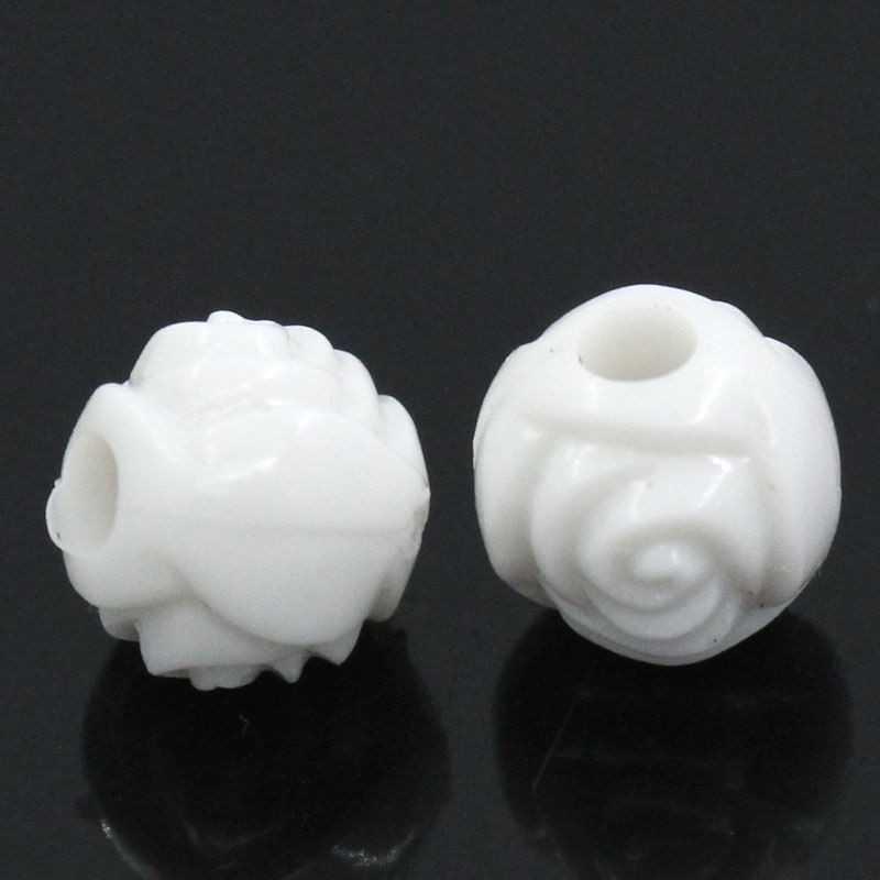 50 Perles Rond Fleur Blanc 6mm