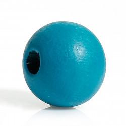 20 Perles en bois Bleu Paon 10mm