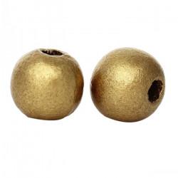 20 Perles en bois Doré 10mm MC0110051