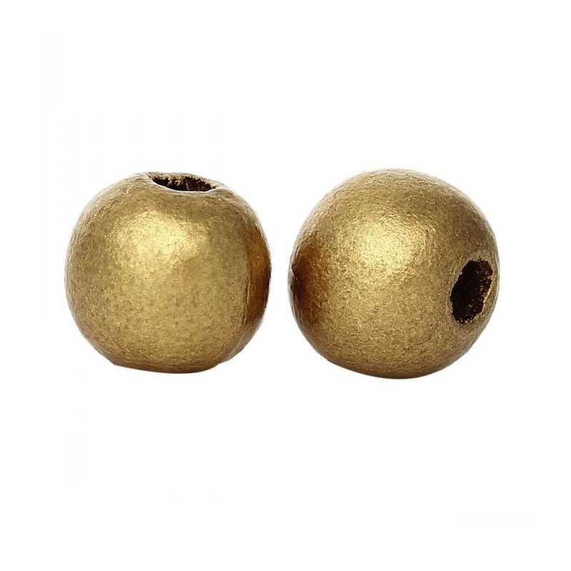 20 Perles en bois Doré 10mm