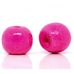 20 Perles en bois 10mm Fuchsia MC0110052