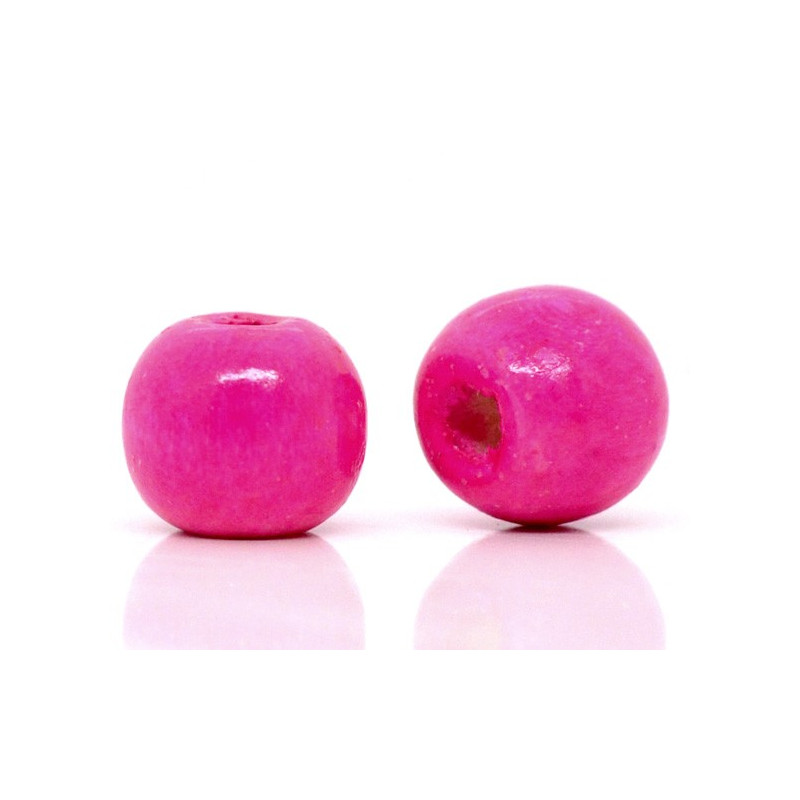 20 Perles en bois 10mm Fuchsia