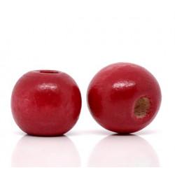 20 Perles en bois Rouge 10mm MC0110056