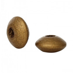 30 Perles intercalaires rondelle Doré Mat en Bois 10mm x 5mm