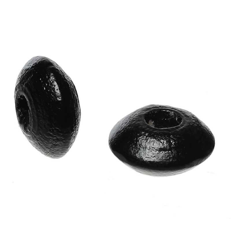 30 Perles Intercalaires Rondelle Noir en Bois 10mm x 5mm