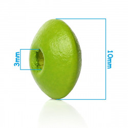 30 Perles Intercalaires Rondelle Vert Pomme en Bois 10mm x 5mm