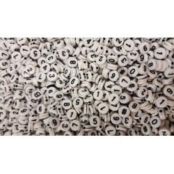 Lot 50 - 100 - 200 Perles Chiffre 7mm Blanc écriture Noir