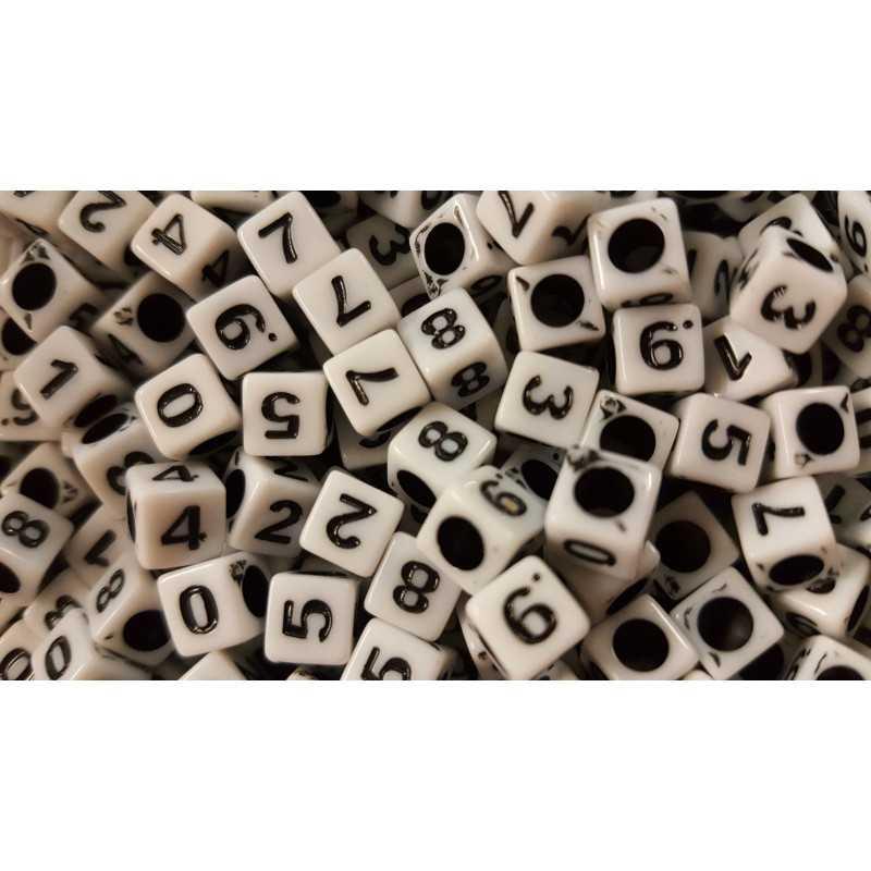 Lot 50 - 100 - 200 Perles Mixte Chiffre Cube 6mm Écriture Noir