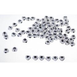 Lot de Perles 7mm Blanche Lettre Alphabet Coeur